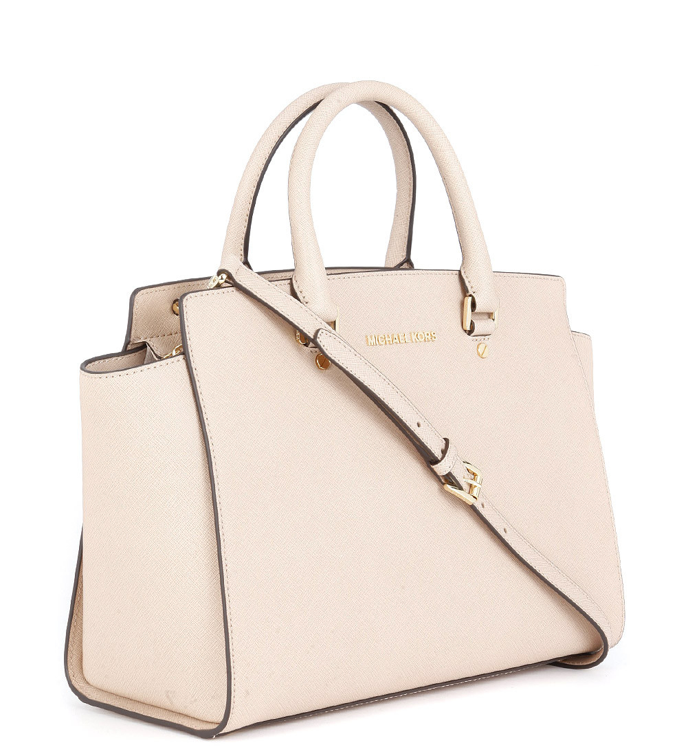 michael kors selma handbag in blush pink saffiano rleather with. Black Bedroom Furniture Sets. Home Design Ideas