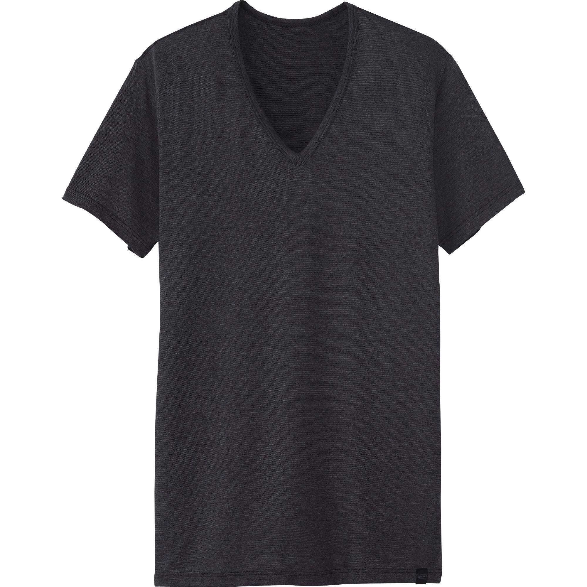 Uniqlo Men Heattech Vneck Short Sleevelv T Shirt In Gray