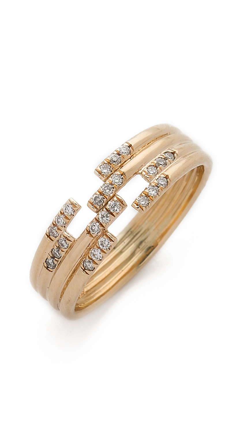 Jennie Kwon Stacked Diamond Cuff Ring - Gold/clear in Metallic