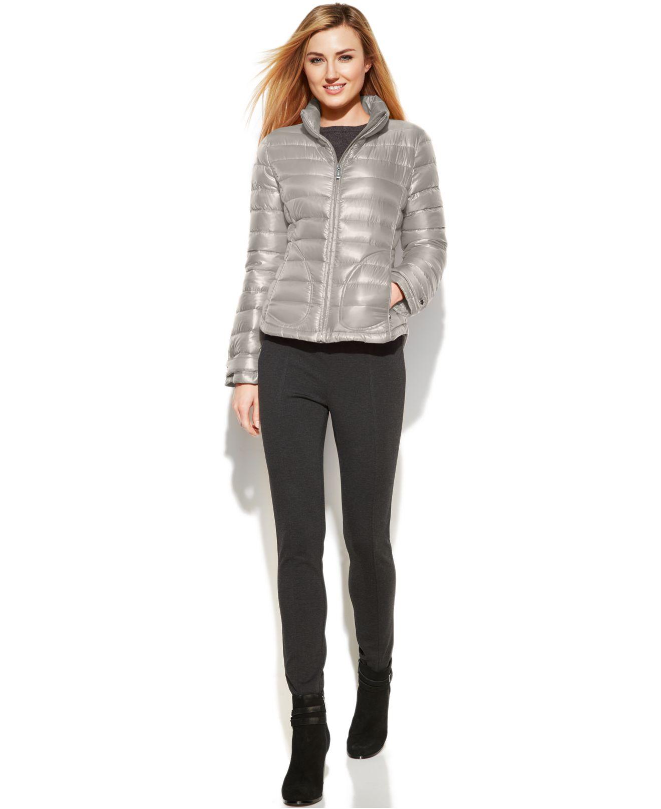 Calvin Klein Quilted Packable Down Puffer Coat In Metallic
