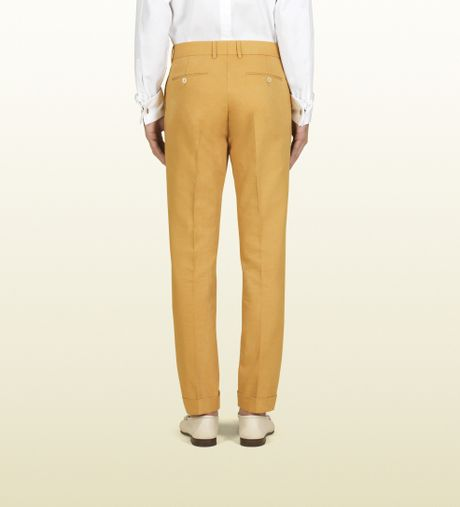 Gucci Yellow Washed Cotton Canvas Skinny Formal Pant In Yellow For Men | Lyst