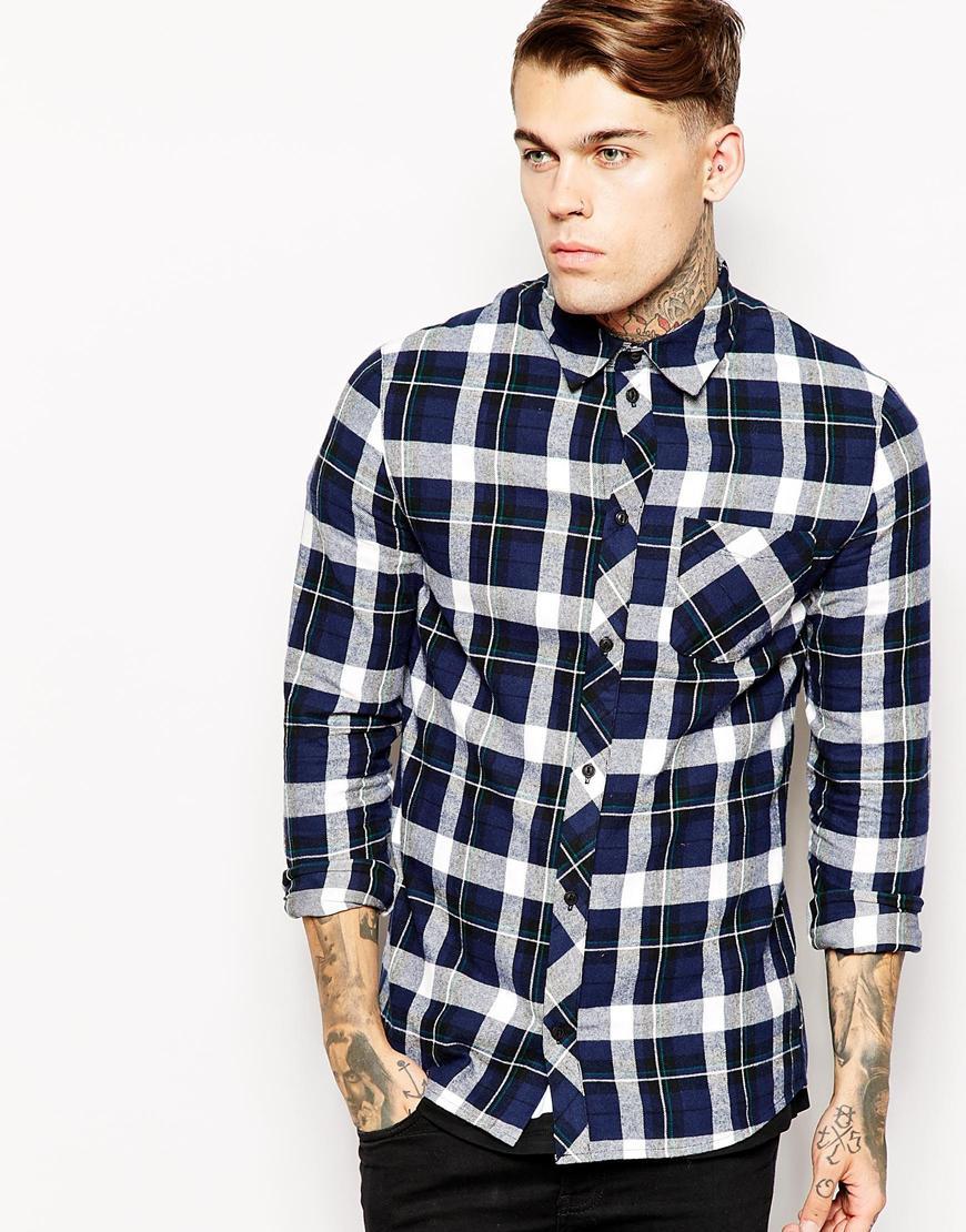 lyst eleven paris check shirt with jesus back print in blue for men. Black Bedroom Furniture Sets. Home Design Ideas