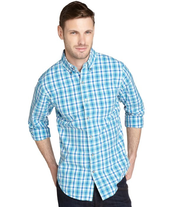 Relwen Aqua Blue And White Gingham Button Down Shirt in Blue for ...