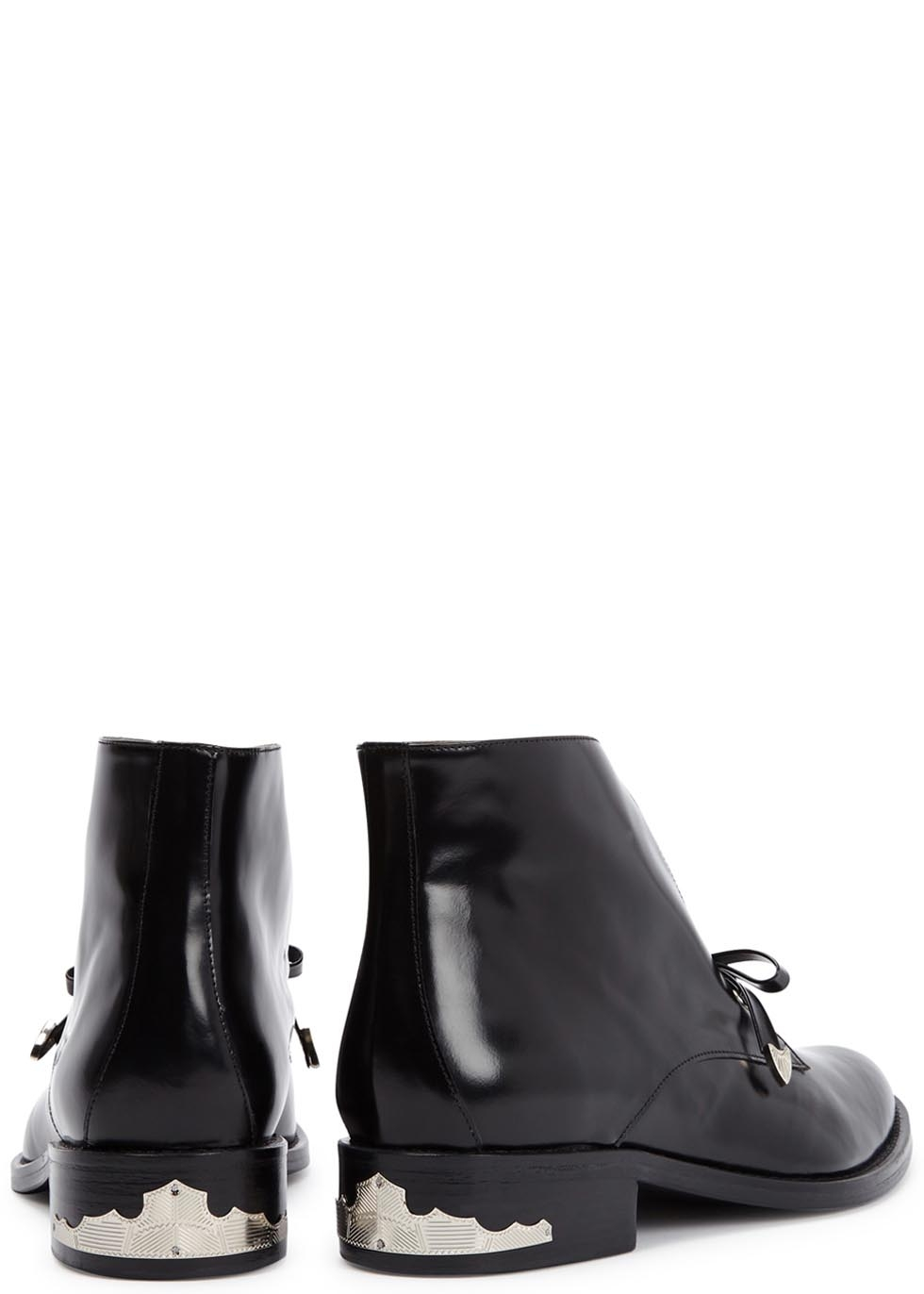 Toga Black Bow-embellished Leather Ankle Boots