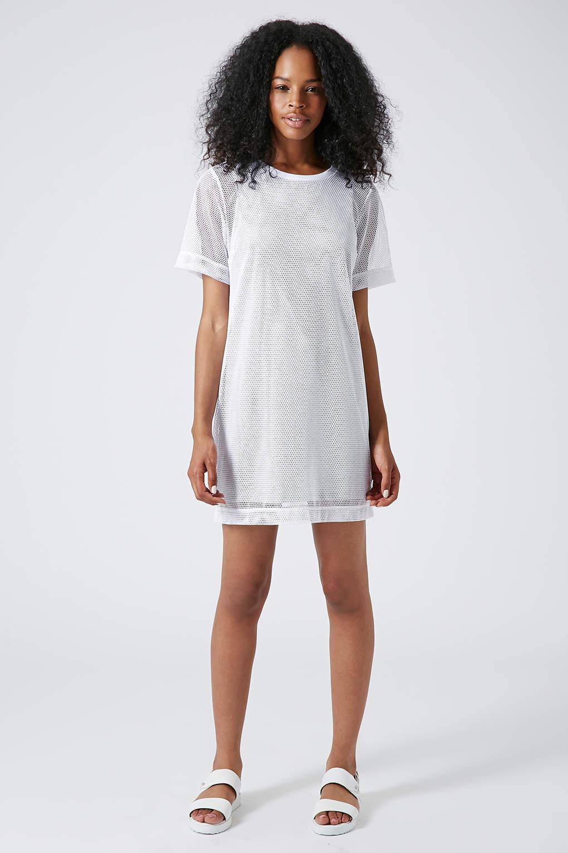 Lyst Topshop Mesh Overlay Tshirt Dress In White