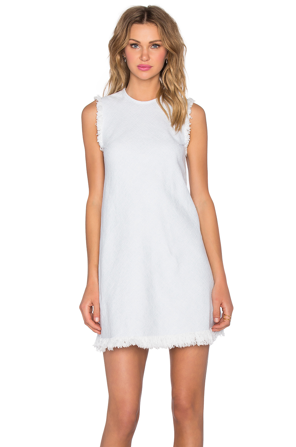 lyst t by alexander wang frayed burlap shift dress in white. Black Bedroom Furniture Sets. Home Design Ideas