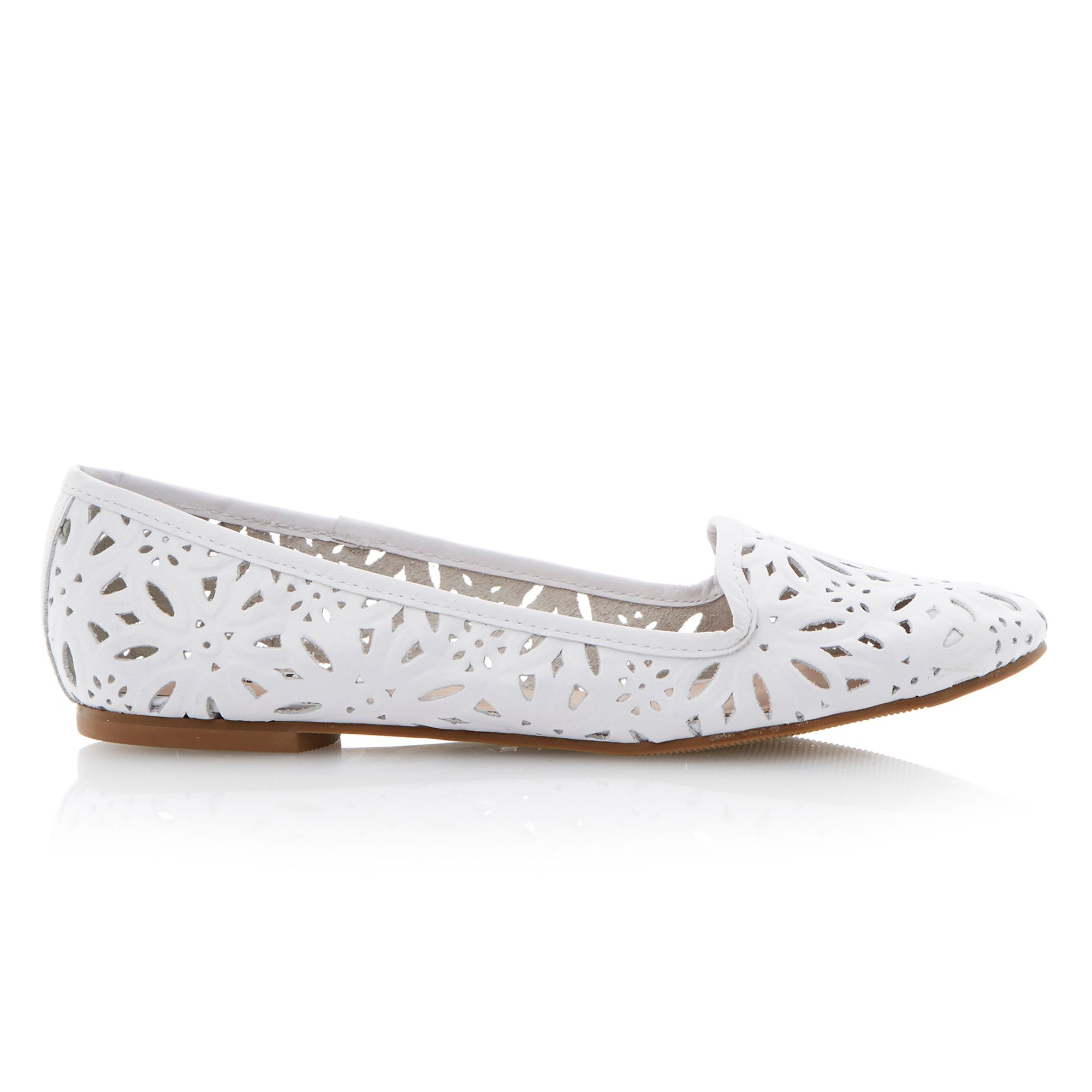 Dune Londres Laser Cut Leather Flats In White Lyst
