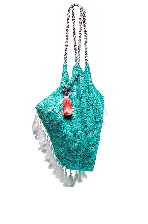 Crochet Tassel Bag : ... Shore Road By Pooja Blue Sunset Crochet-trim Tassel Beach Bag Lyst