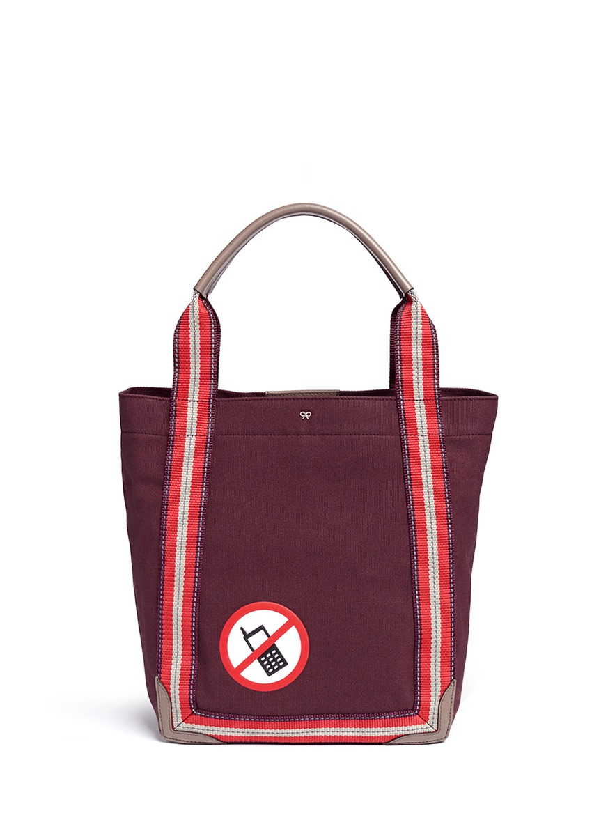 Anya Hindmarch No Mobile Small Canvas Shopper Tote Lyst