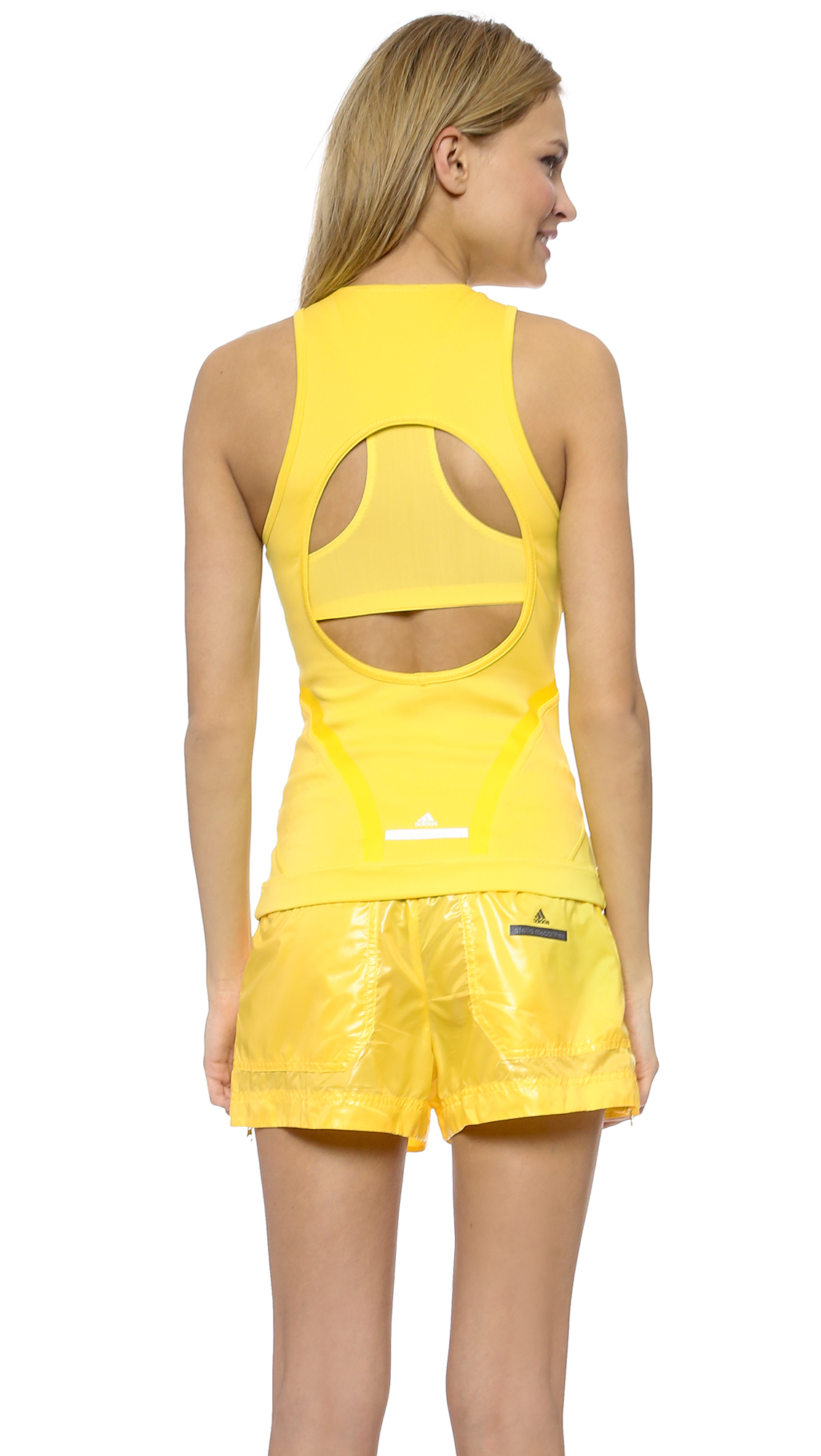 adidas by stella mccartney run perf tank top glow yellow in yellow lyst. Black Bedroom Furniture Sets. Home Design Ideas