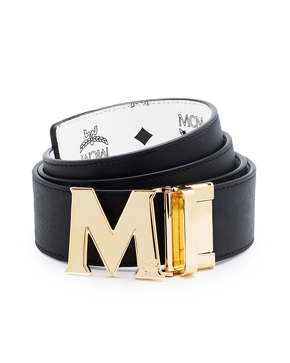 mcm reversible visetos saffiano leather belt in blue for
