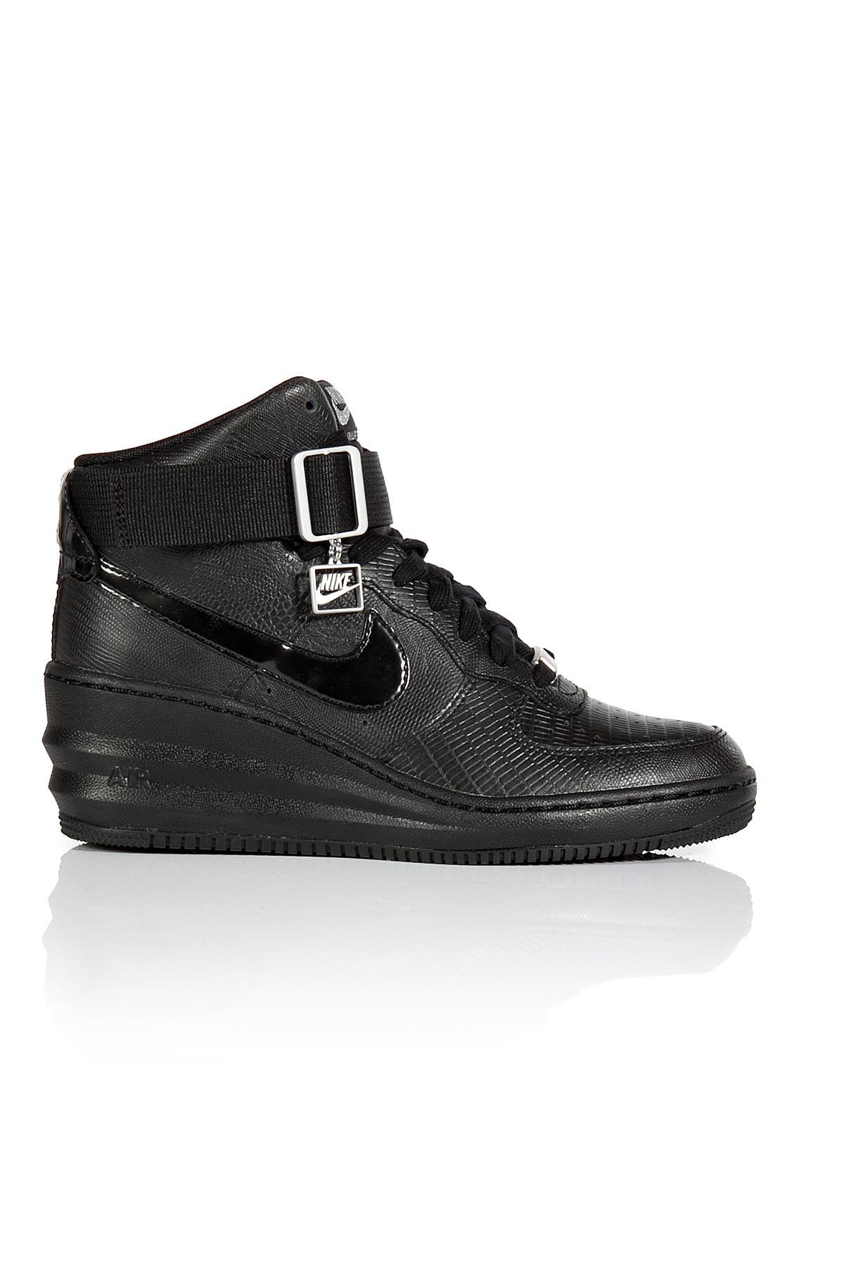 3d58a9b6318d Lyst - Nike Lunar Force Sky Hi Wedge Sneakers - Black in Blue