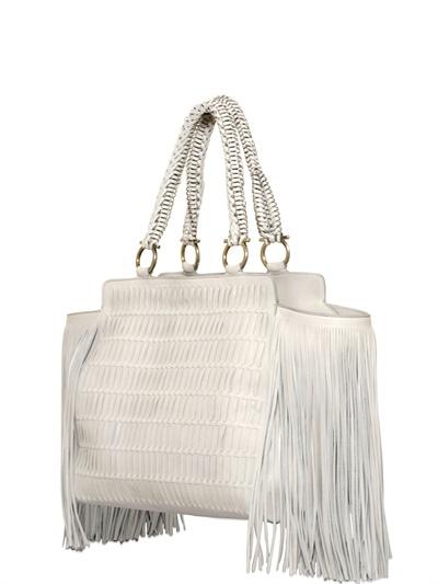 Lyst Ferragamo Arianna Fringing Woven Nappa Leather Bag