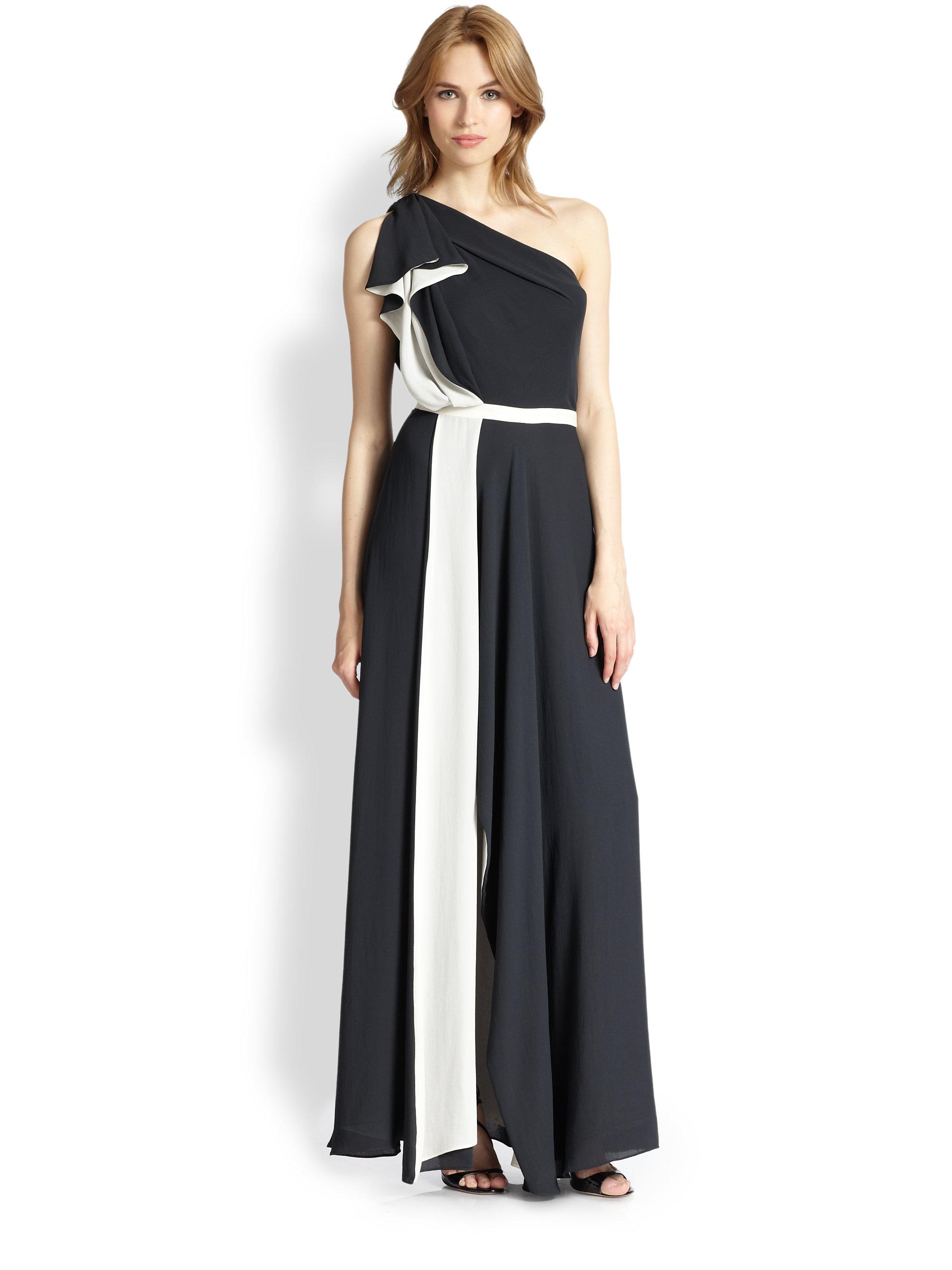 Halston heritage one shoulder maxi dress