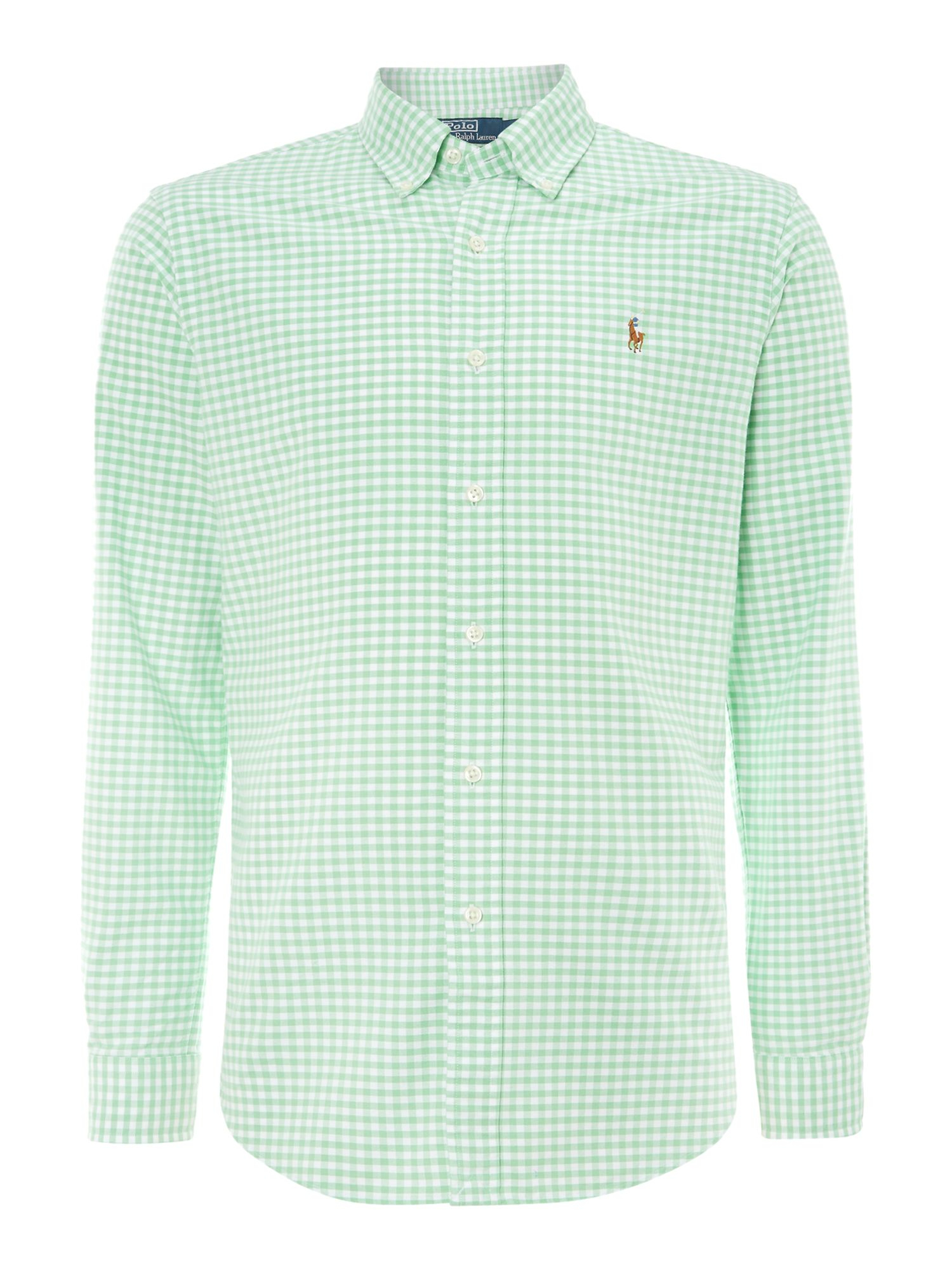 Lyst polo ralph lauren classic slim fit long sleeve for Mens green gingham dress shirt