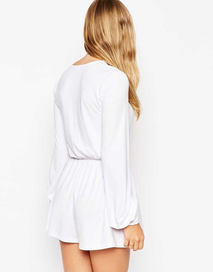 3639f402ebc1 Lyst - ASOS Playsuit With Lace Up Front in White