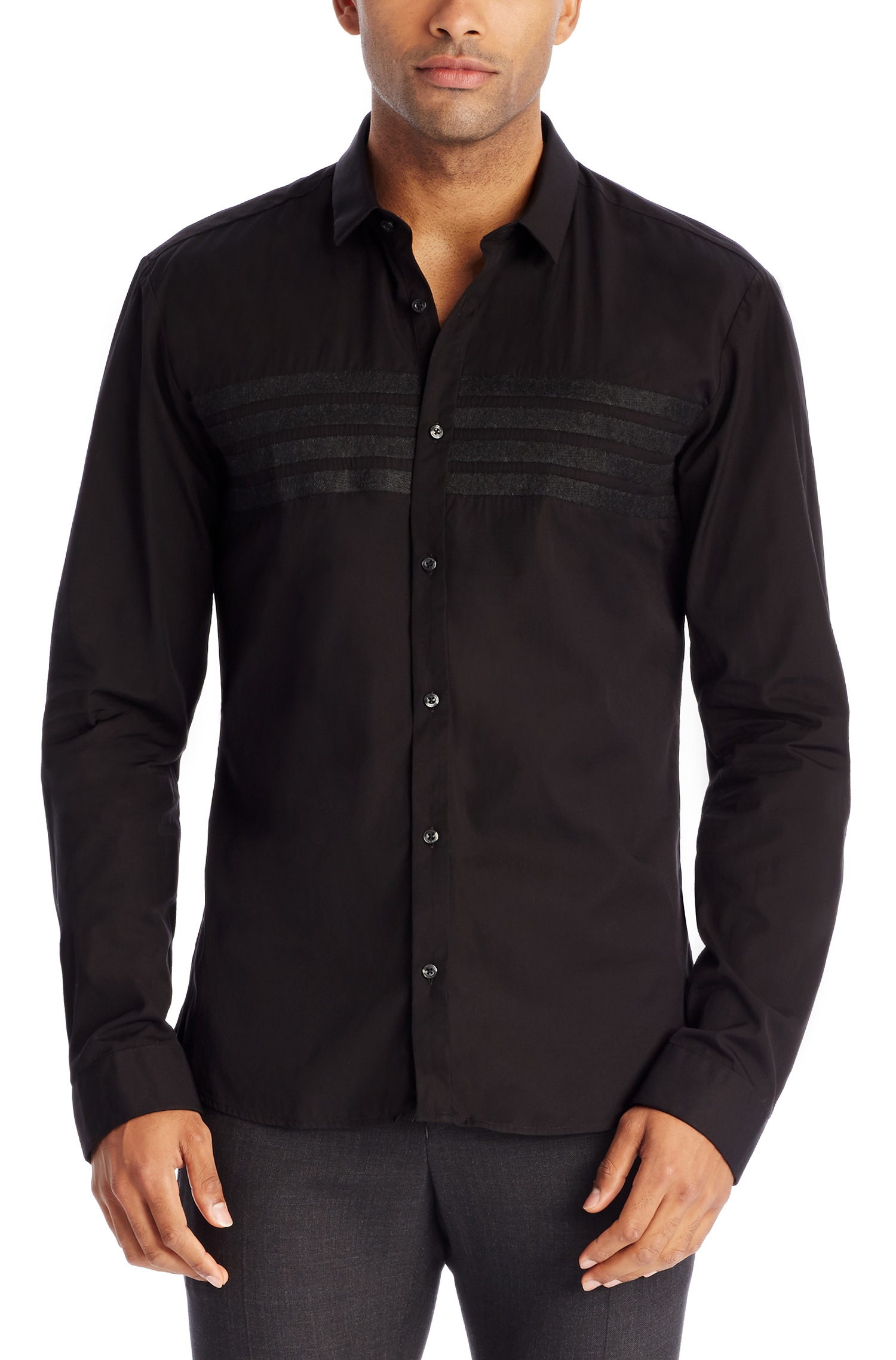 Hugo Ero Slim Fit Cotton Button Down Shirt With Felt