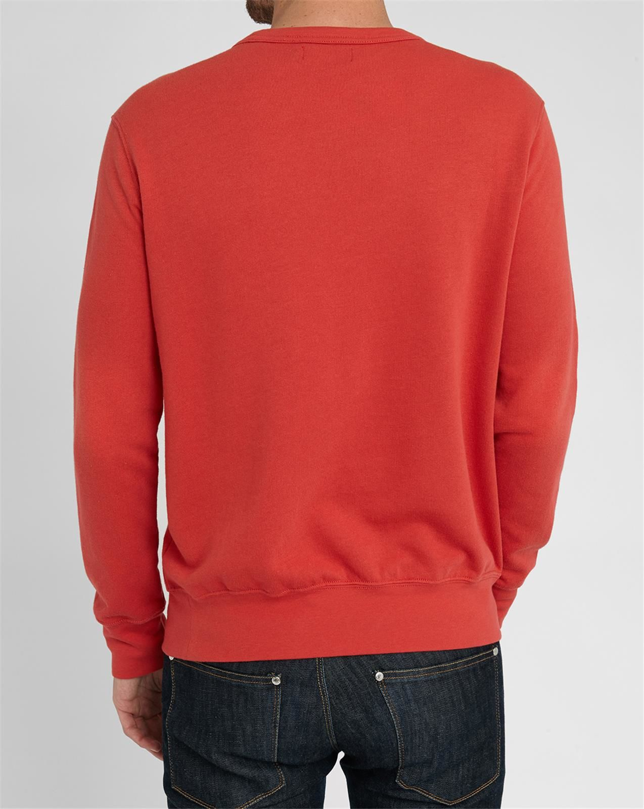 polo ralph lauren red faded round neck sweatshirt in red. Black Bedroom Furniture Sets. Home Design Ideas
