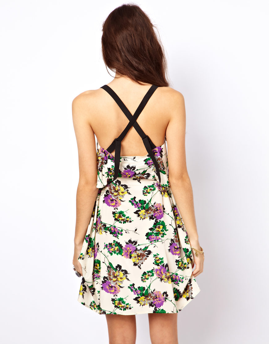Asos Sundress In Floral Print With Zip Front Lyst