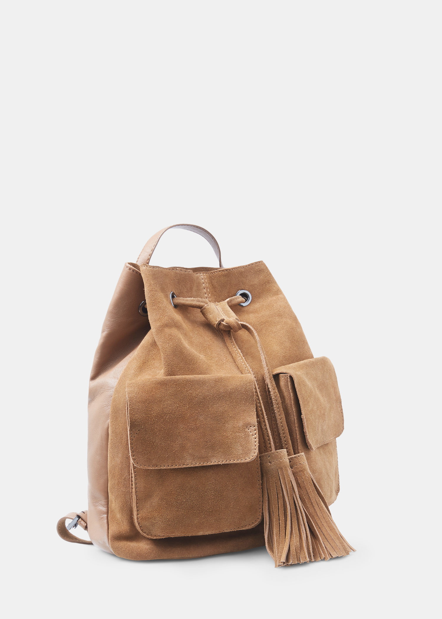 Mango Pocket Leather Backpack in Brown | Lyst