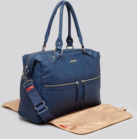 Storksak Diaper Bag Caroline Leather in Blue (Navy)