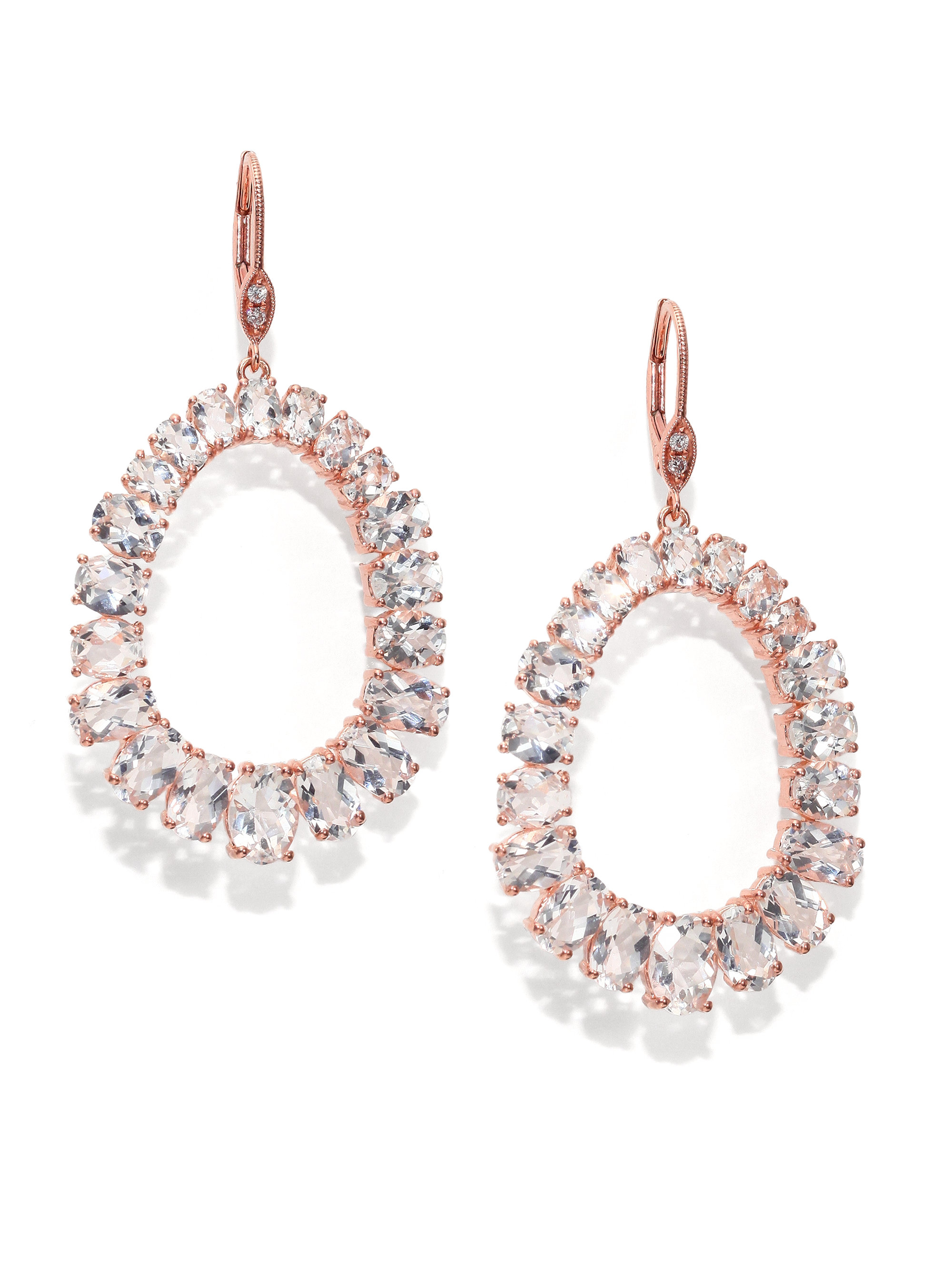 14K Gold White Diamond Earrings Meira T hghMYTxH