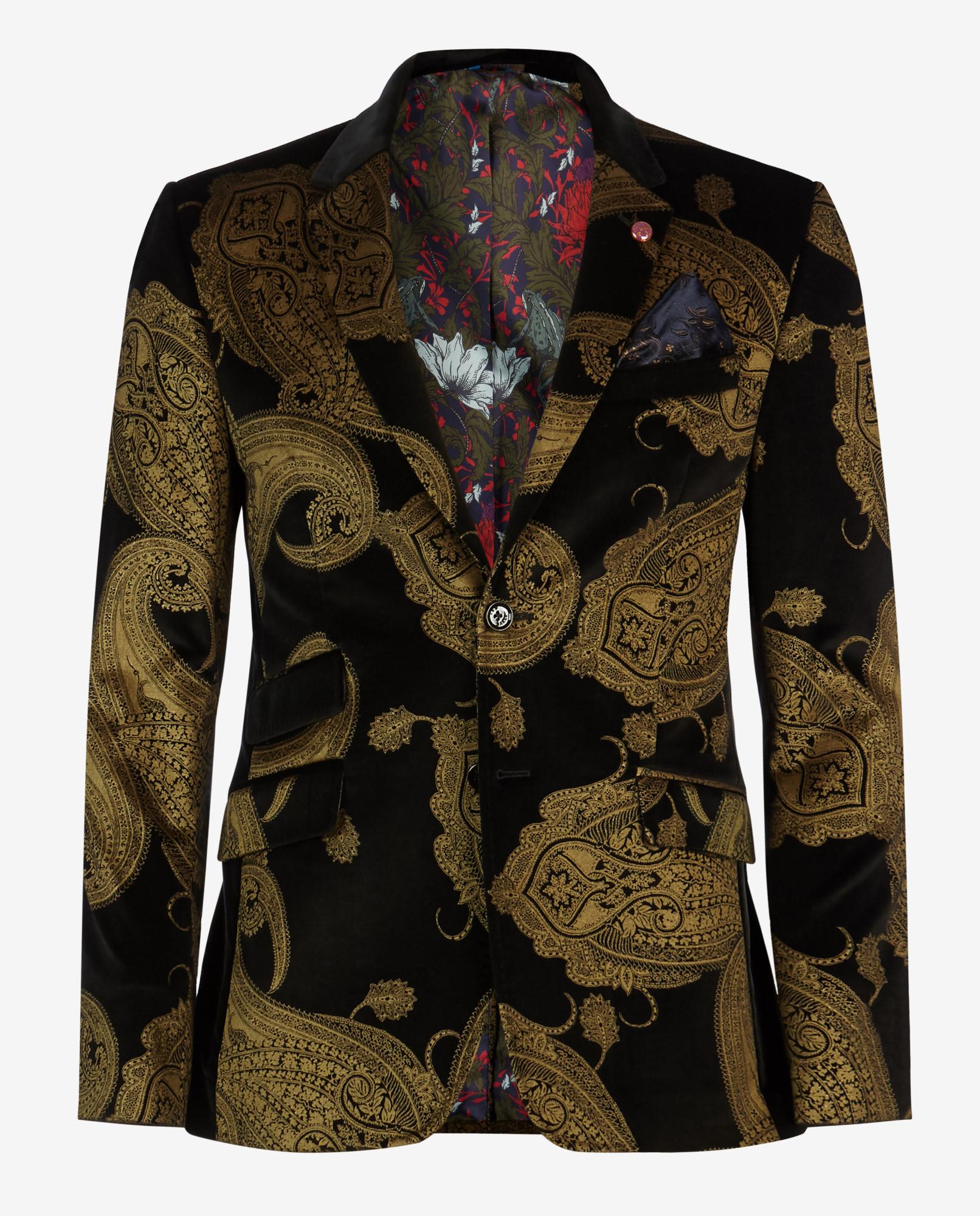 Ted Baker Deluxe Paisley Velvet Jacket In Metallic For Men