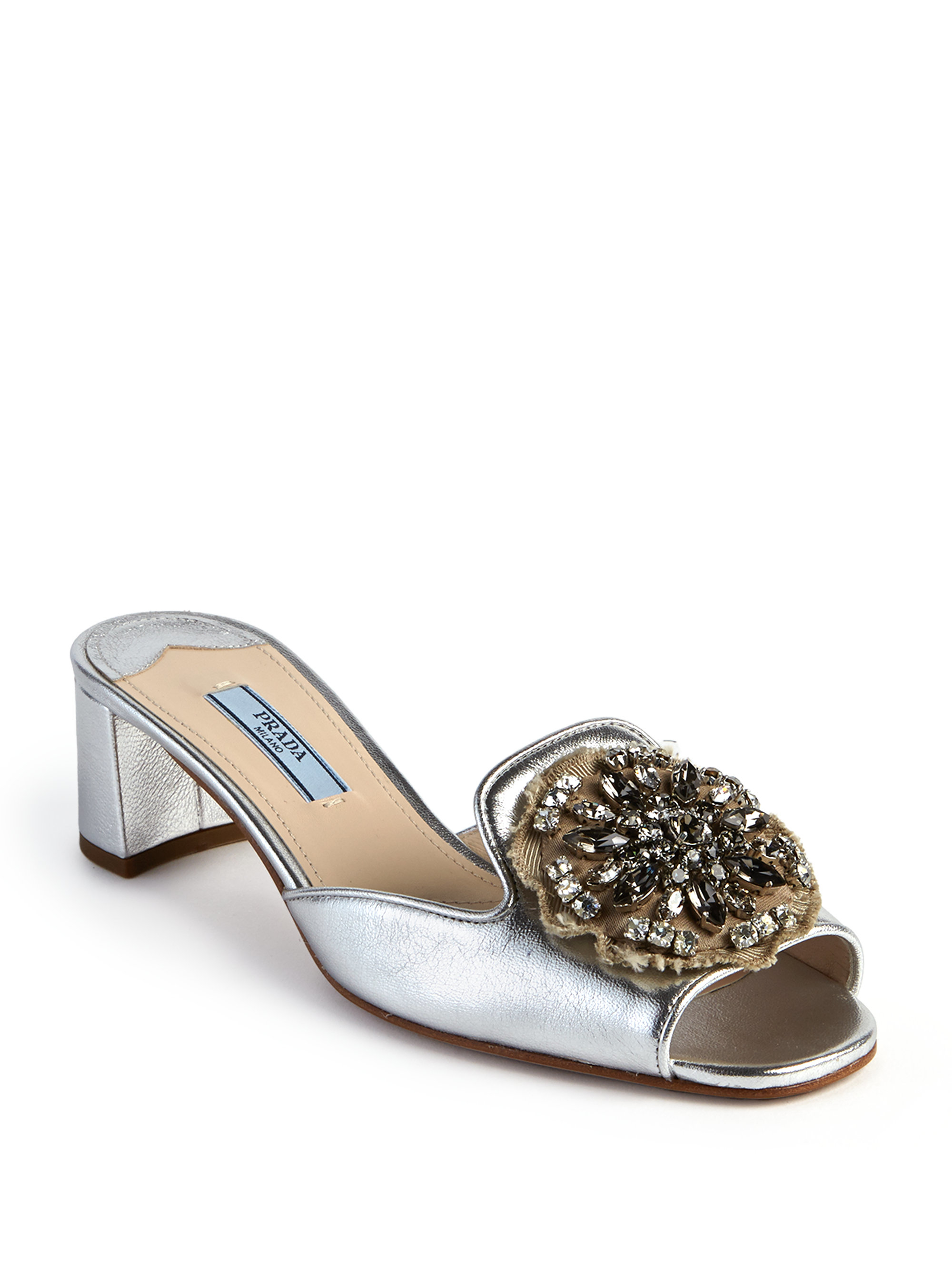 outlet prices online cheap price Prada Leather Embellished Sandals enjoy shopping w23JFDUF