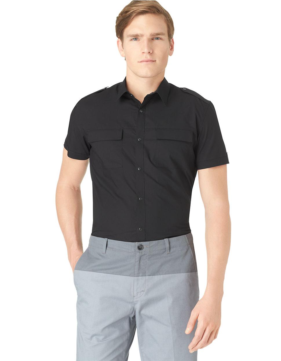 Calvin klein black slim fit stretch sportshirt for men for Calvin klein slim fit stretch shirt