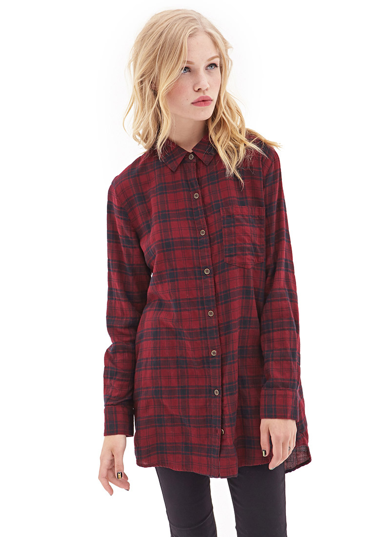 Forever 21 plaid flannel shirt dress in red burgundy for Flannel shirts for womens forever 21