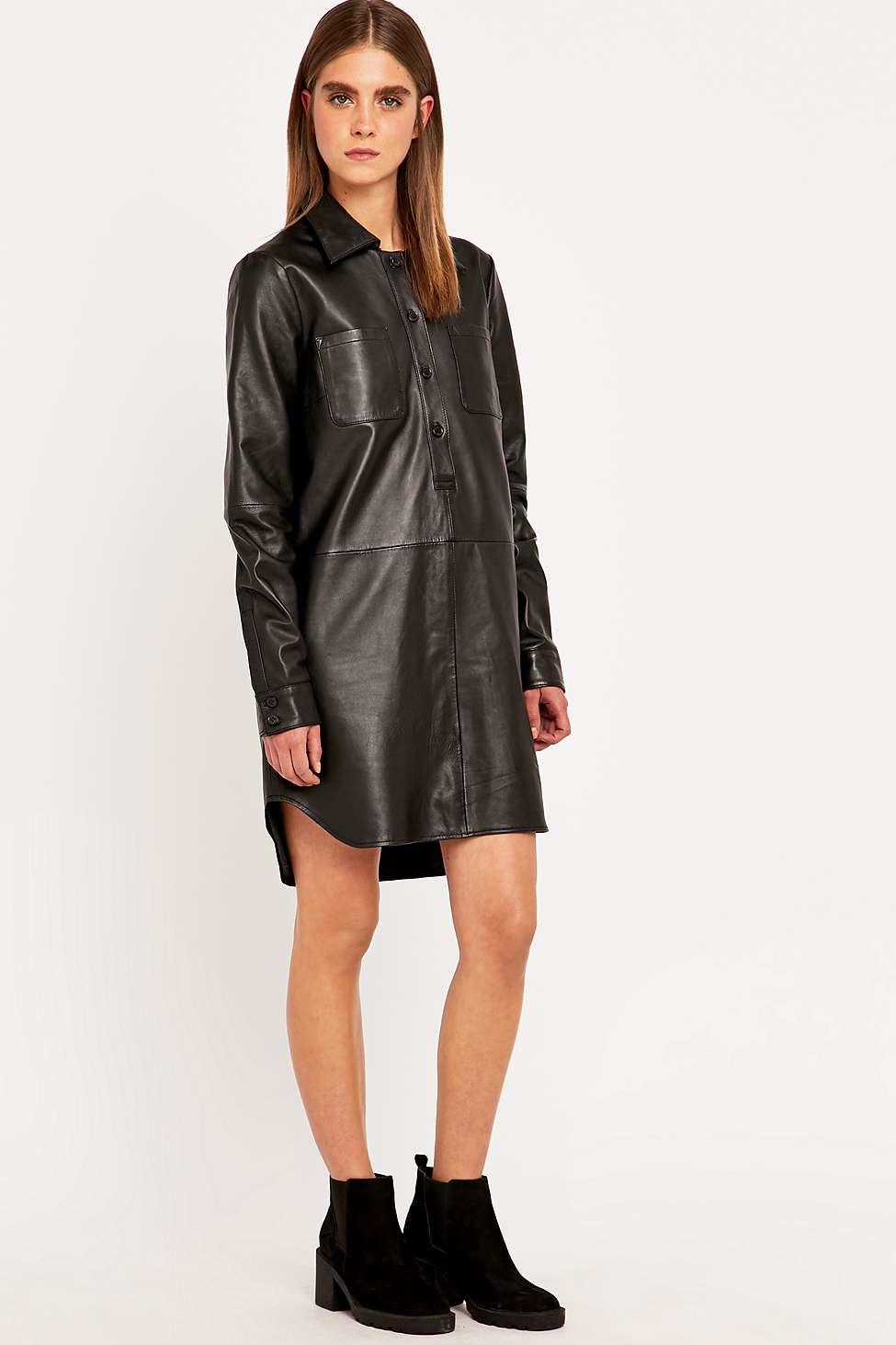 Hide Leather Shirt Dress In Black Lyst