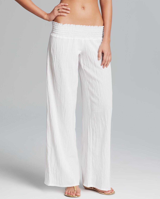Debbie katz Gauze Swim Cover Up Pants in White | Lyst
