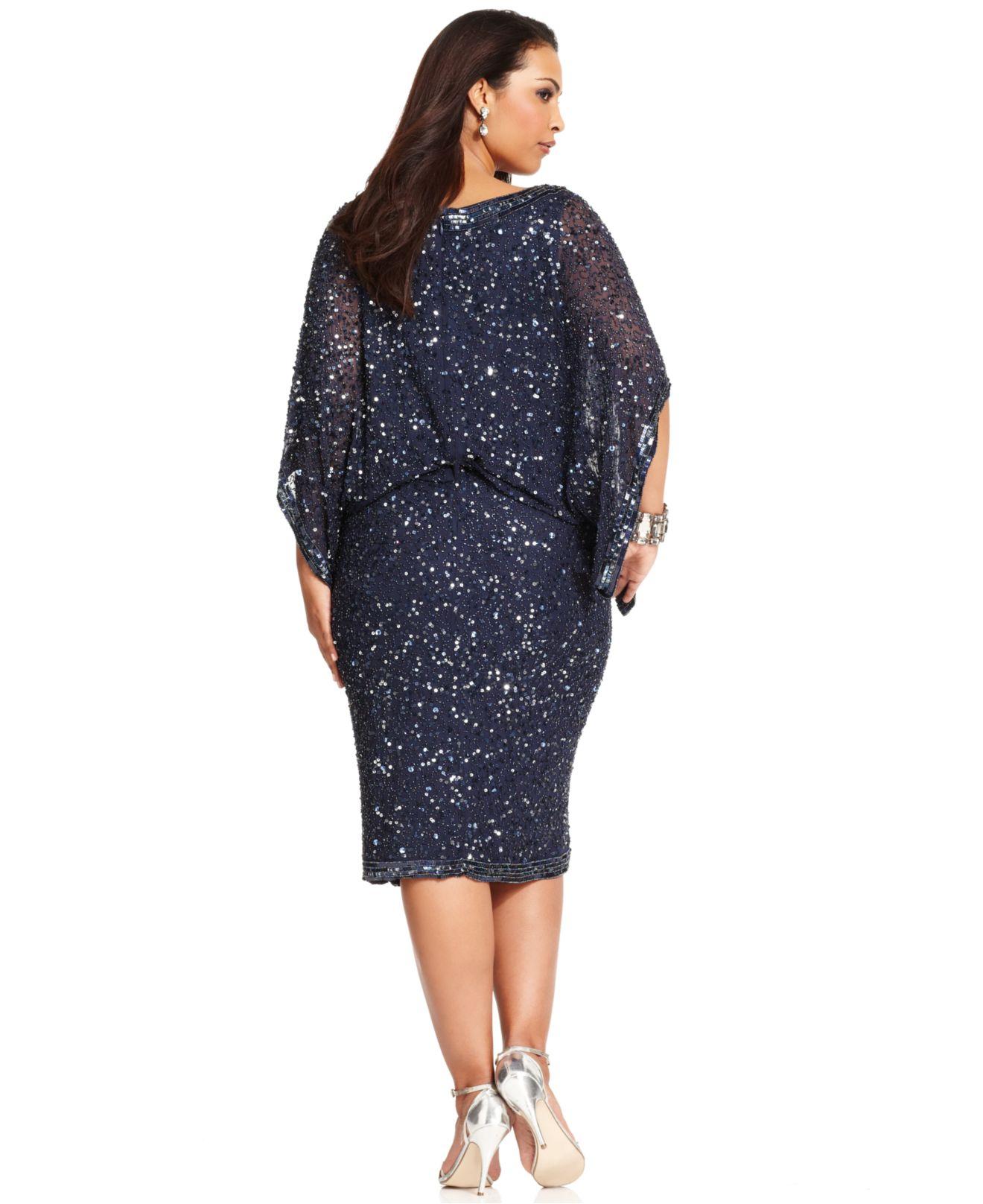 Plus Size Kimono-Sleeve Beaded Dress