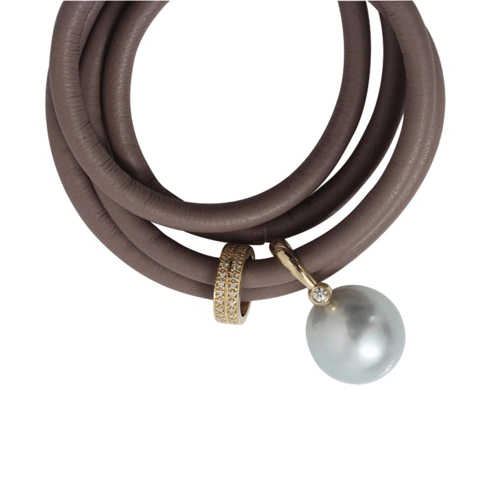 Mizuki Pearl and Leather Wrap Bracelet in Gray   Lyst