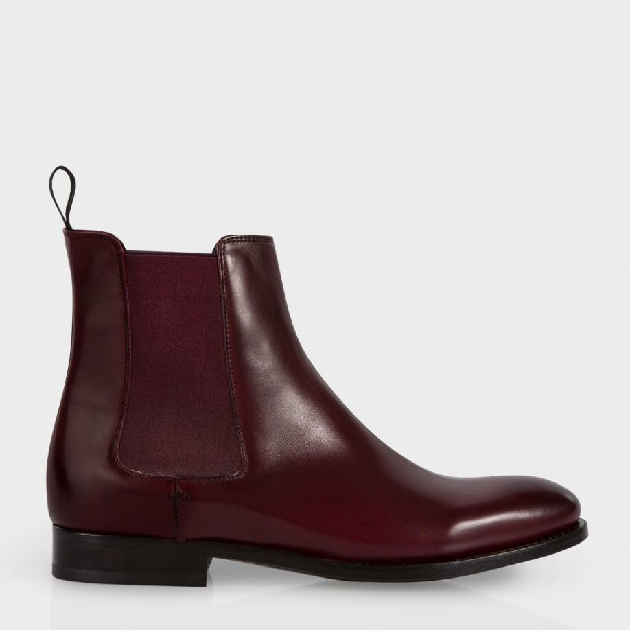 lyst paul smith women 39 s bordeaux calf leather 39 bertram 39 chelsea boots in red for men. Black Bedroom Furniture Sets. Home Design Ideas