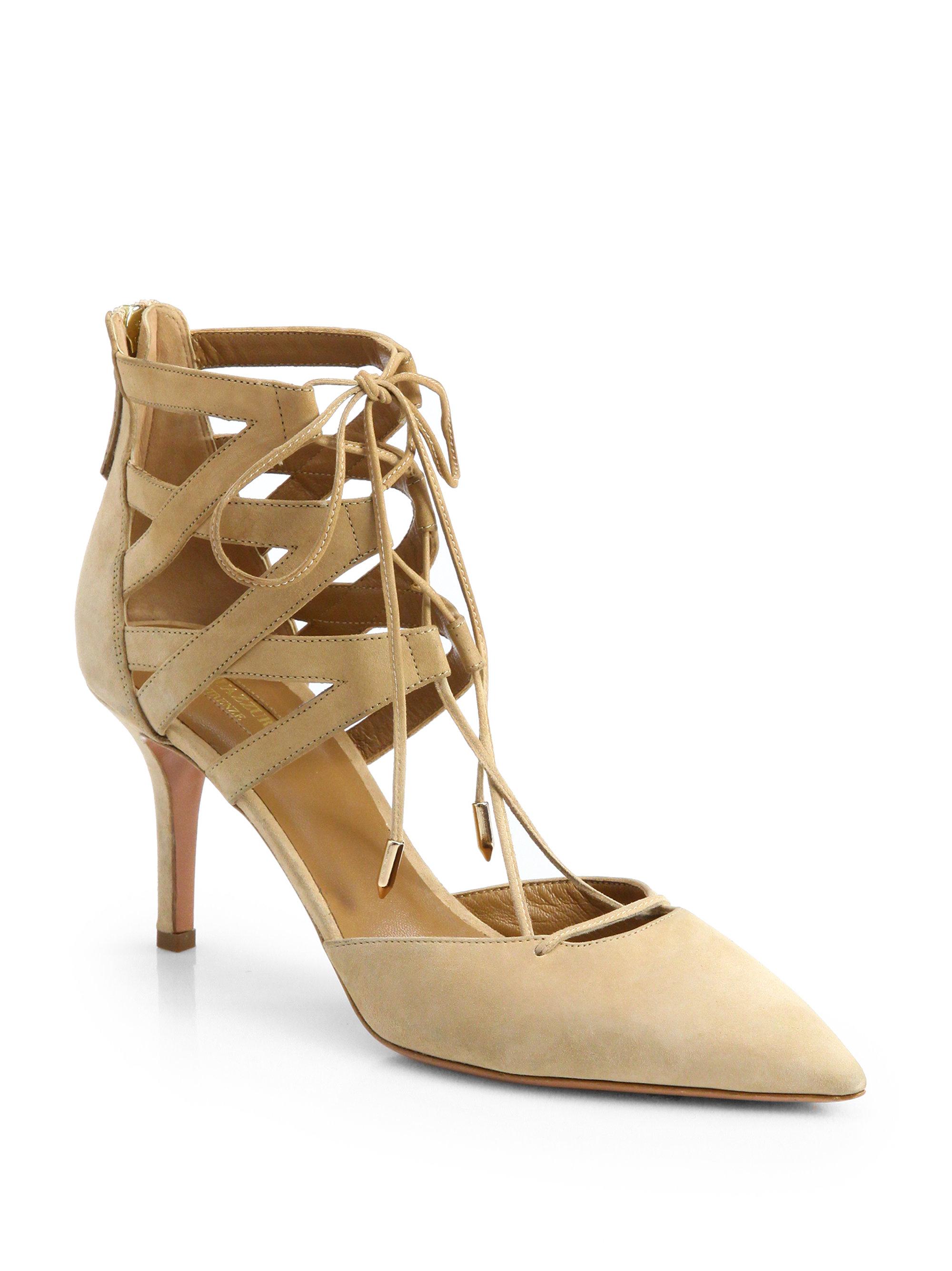 Aquazzura Shoes   Karlie Suede Laceup Pumps   Poshmark