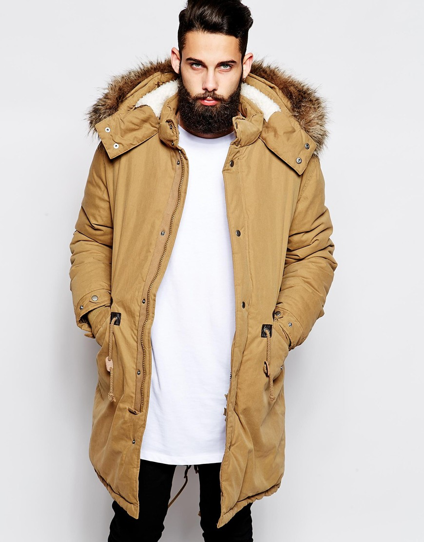 Mens Fishtail Parka With Fur Hood