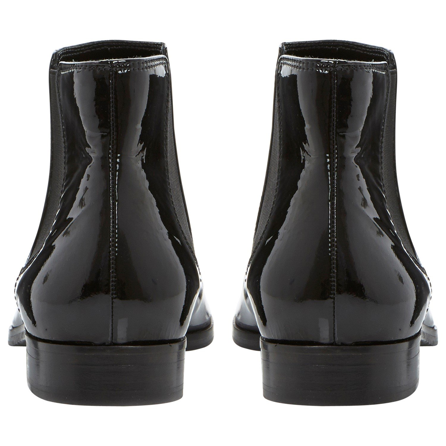 Dune Black Pedlow Leather Flat Ankle Boots in Black