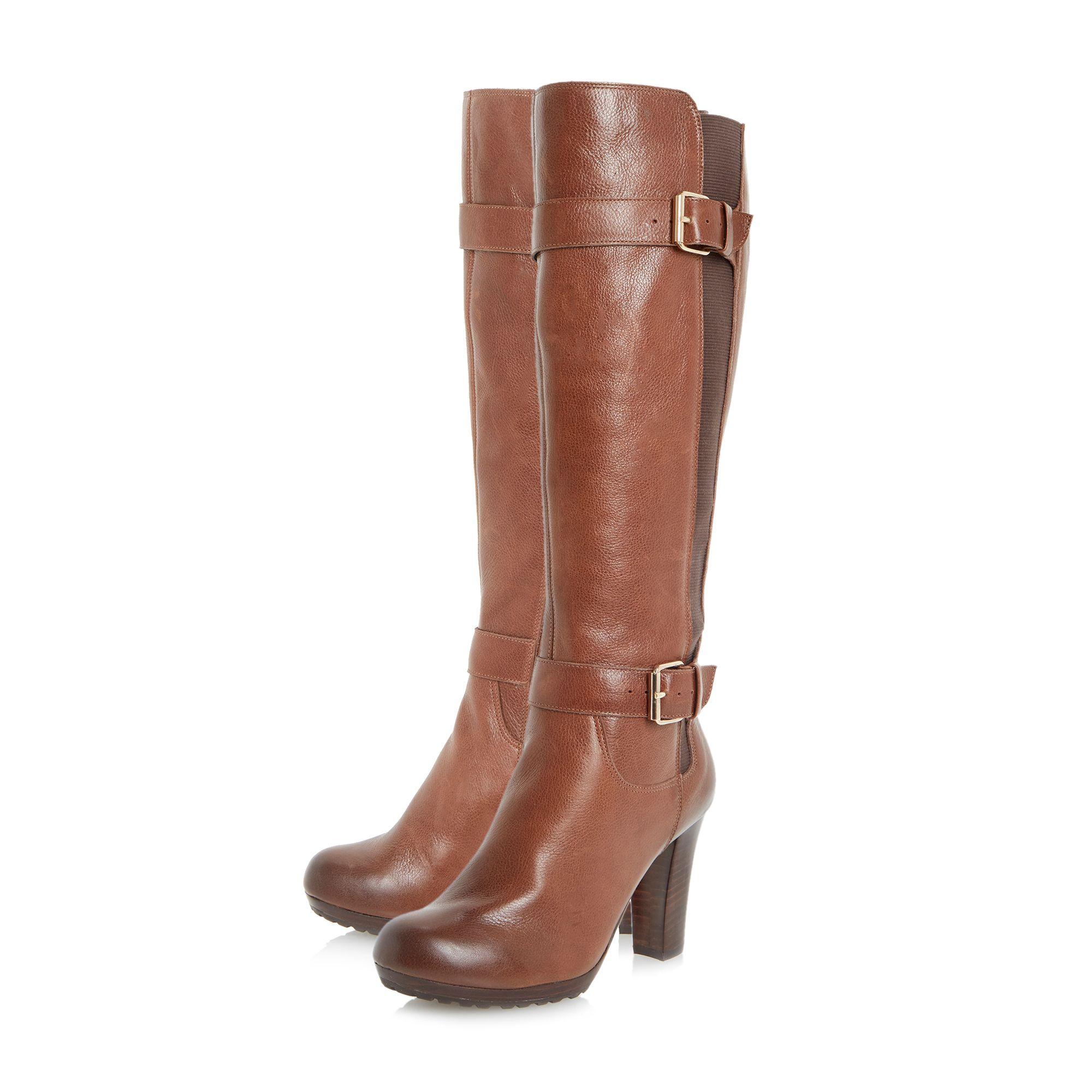 dune social knee high chelsea boot in brown lyst