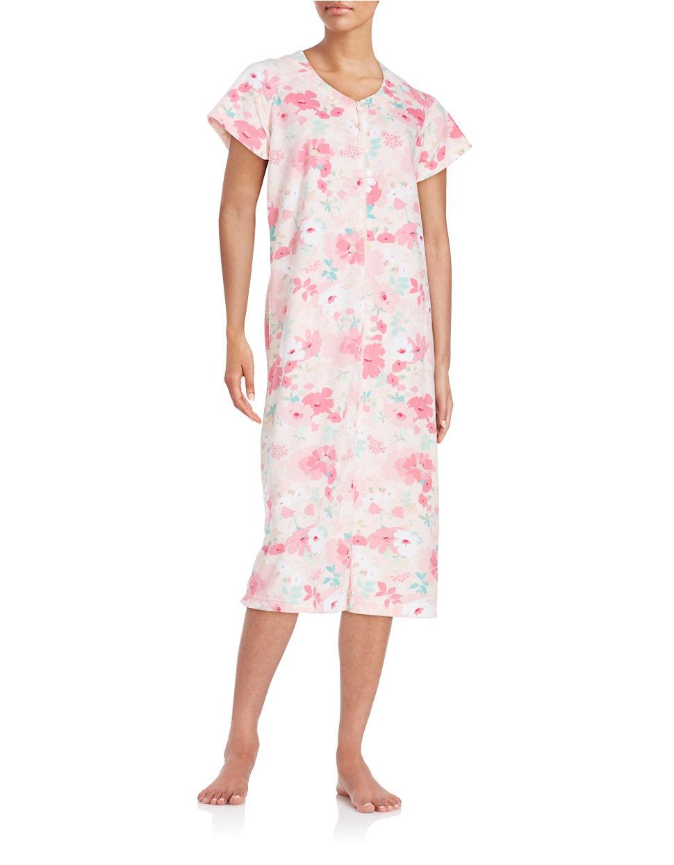 d52d5cdcbd Lyst - Miss elaine Floral Mumu Duster Robe