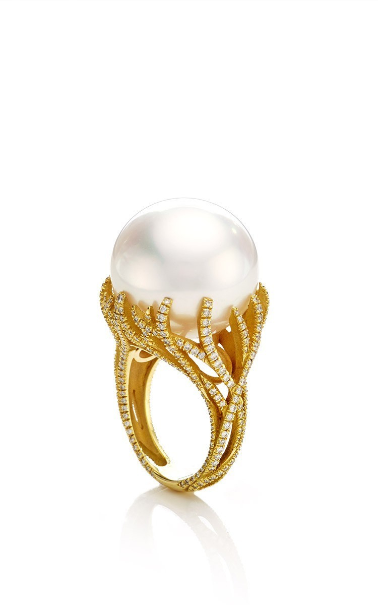 Nicholas Varney South Sea Pearl And Diamond Vine Ring In