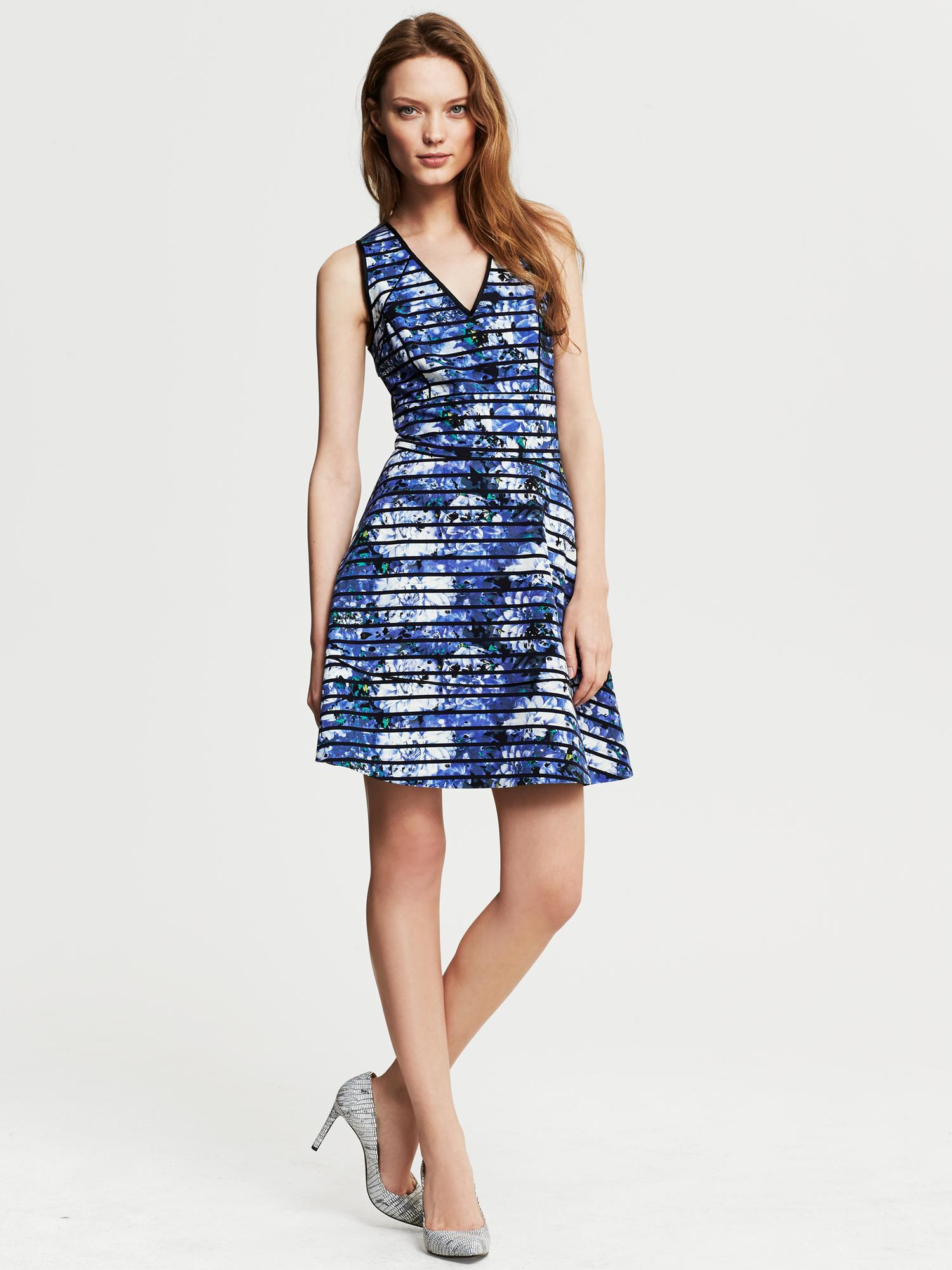Lyst Banana Republic Striped Floral Fit And Flare Dress