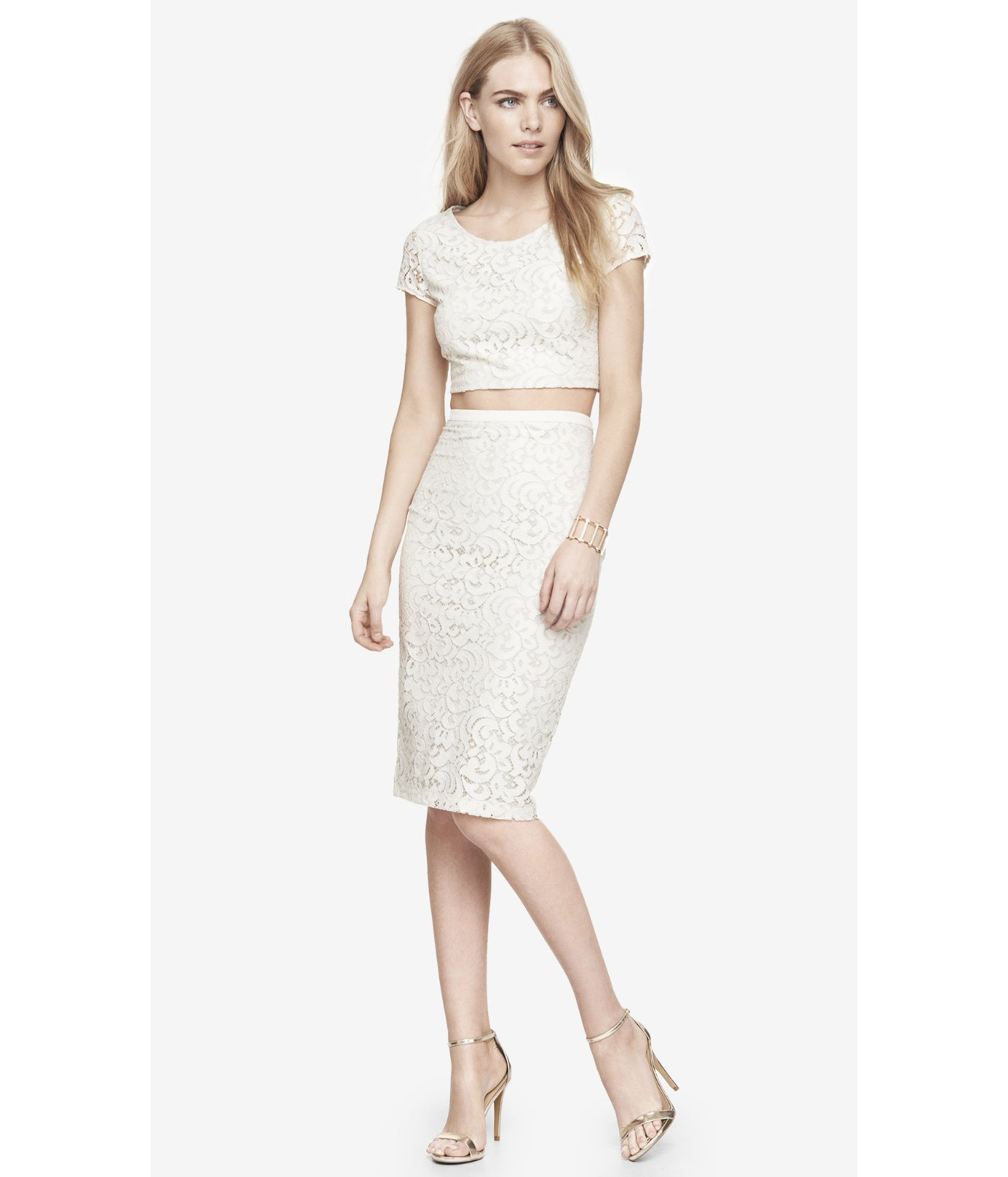 Express High Waist Lace Midi Pencil Skirt in White (WARM ...