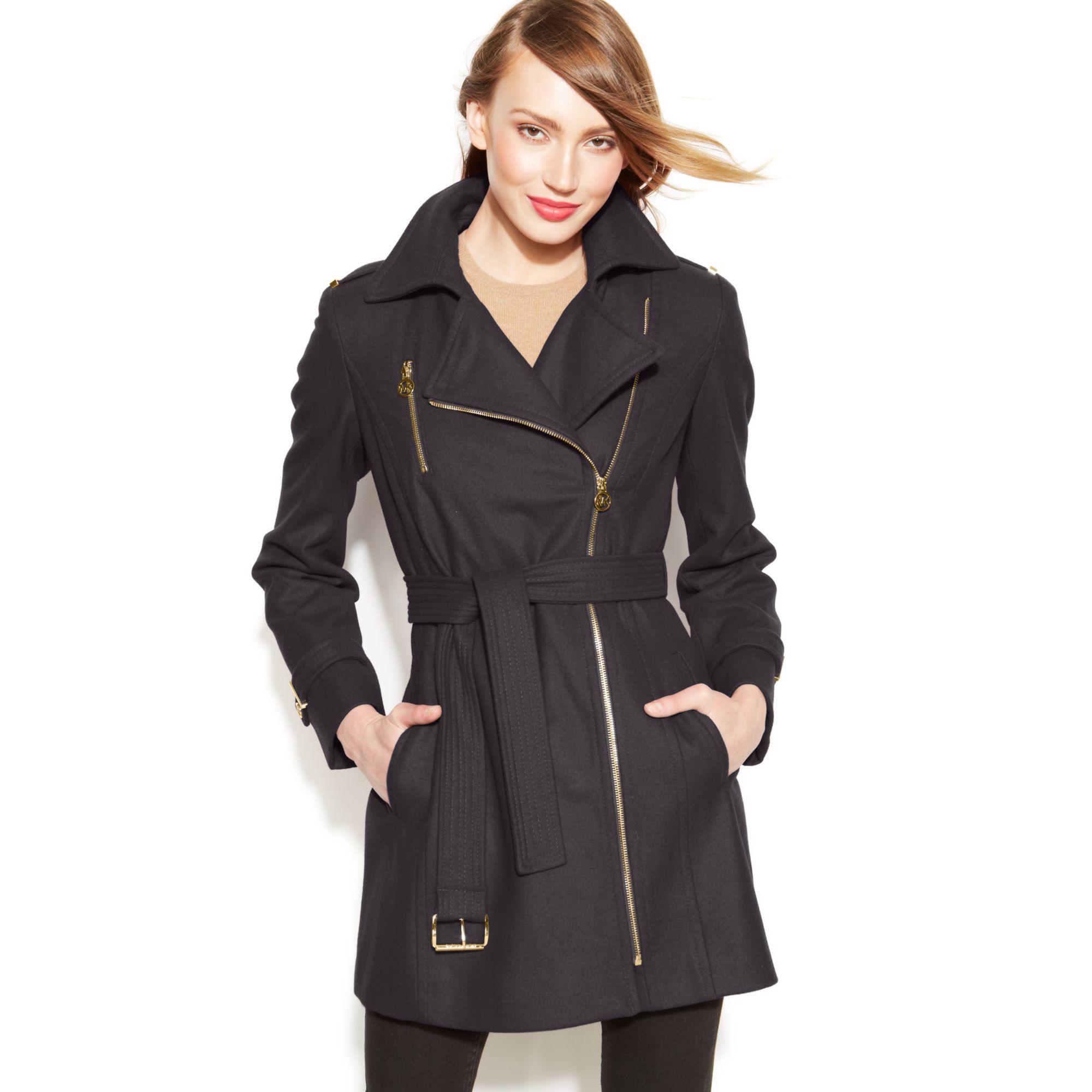 michael kors michael asymmetrical belted walker coat in gray medium grey lyst. Black Bedroom Furniture Sets. Home Design Ideas