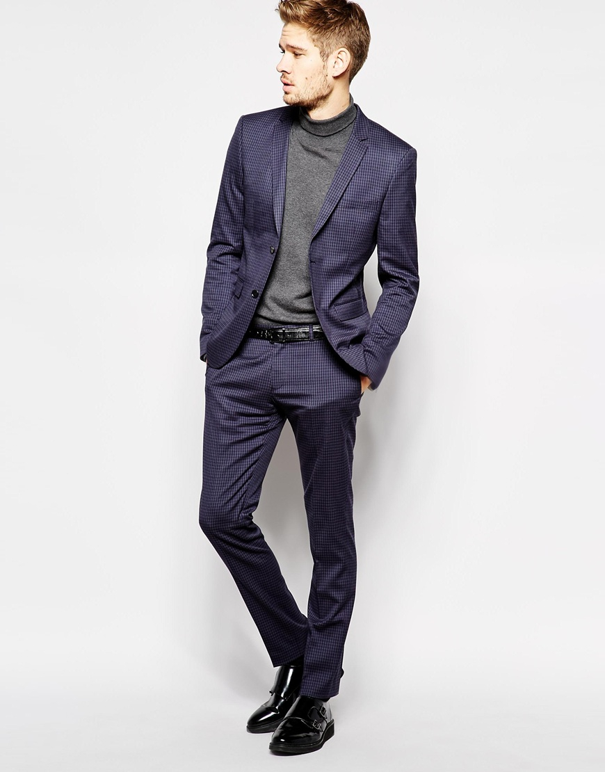 Selected Selected Micro Check Suit Pants In Skinny Fit in Blue for ...