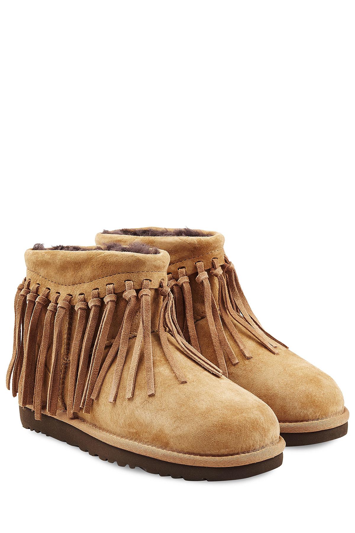88e3912d983 UGG Natural Wynona Fringe Sheepskin Boots - Brown