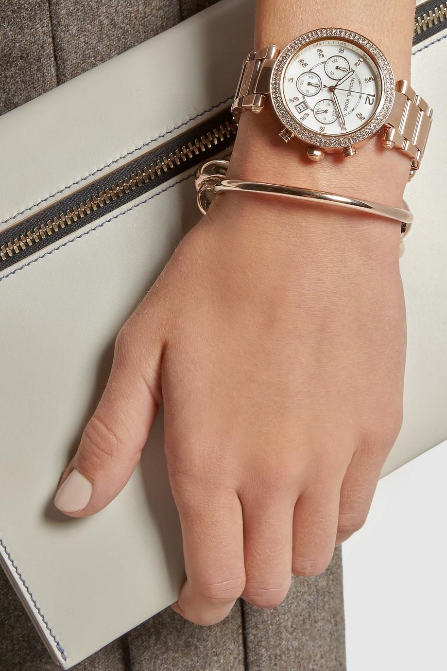67ffead2e7b0 Michael Kors Blush Acetate and Rose Gold Tone Parker Glitz Watch
