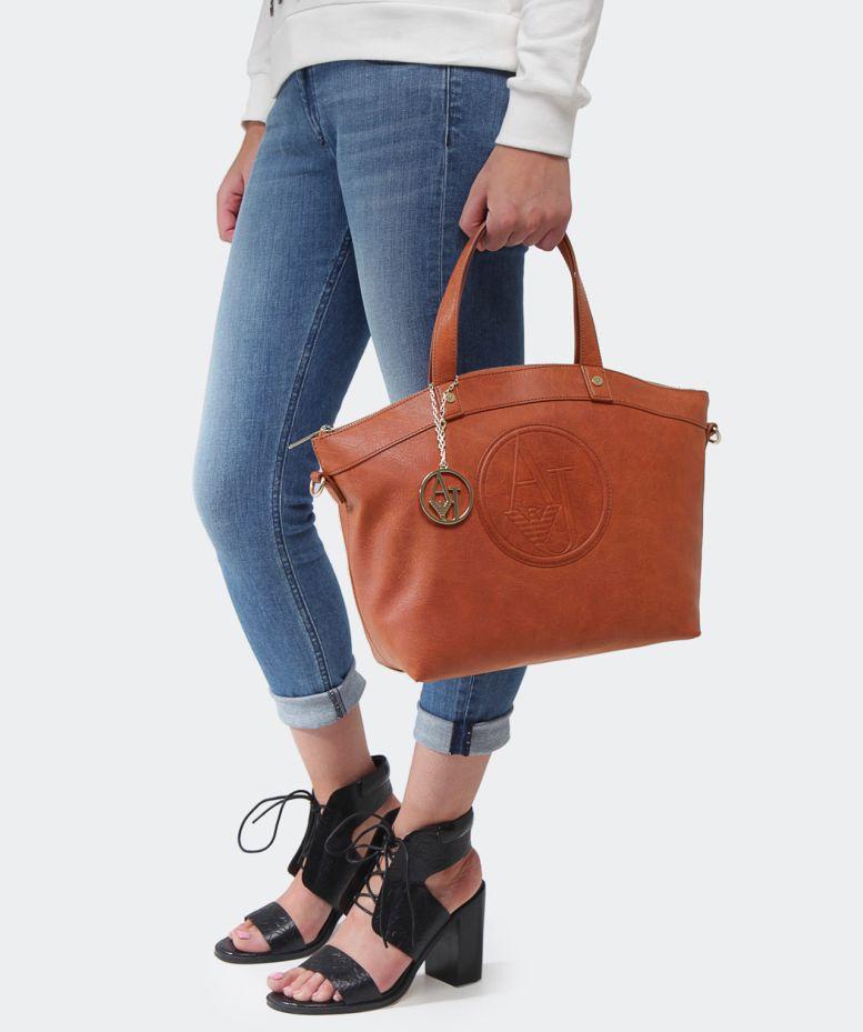 Lyst - Armani Jeans Eco Leather Bugatti Shopper Bag in Brown e606f404a40eb