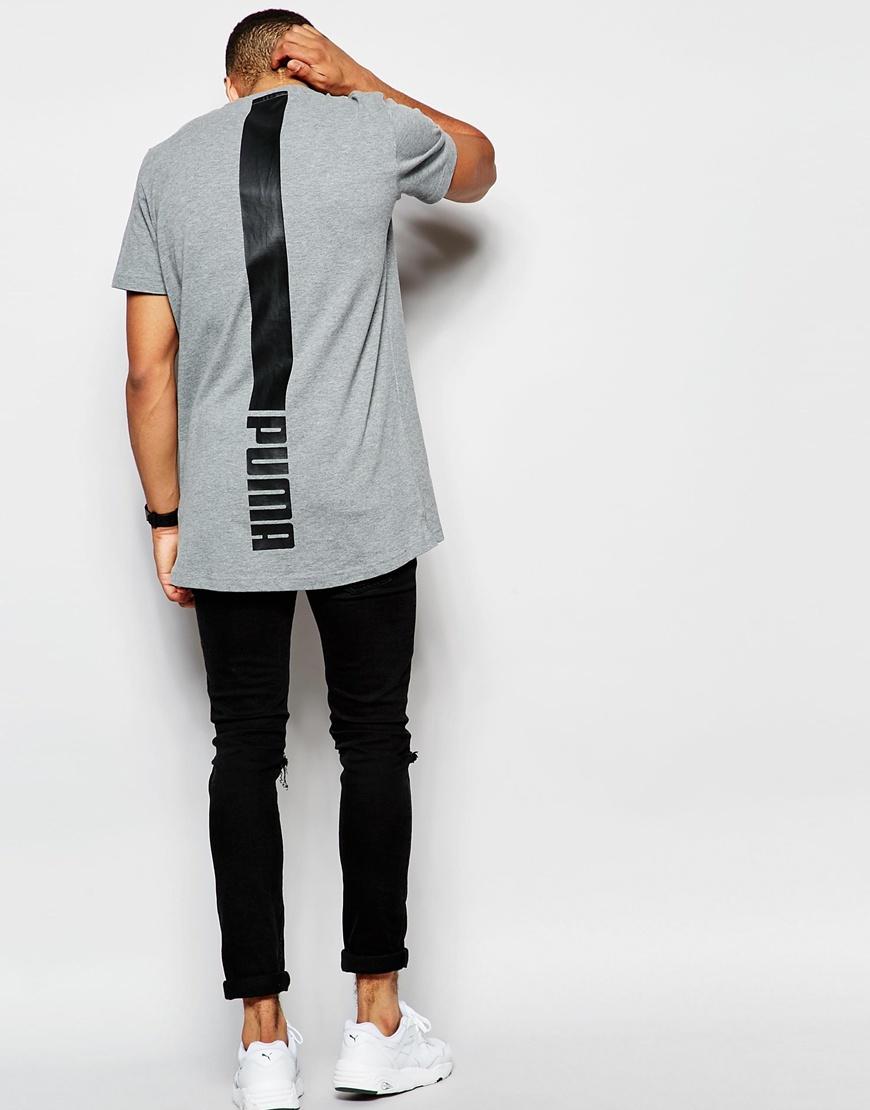 40780e1e PUMA Gray Evolution Longline T-shirt With Back Print for men