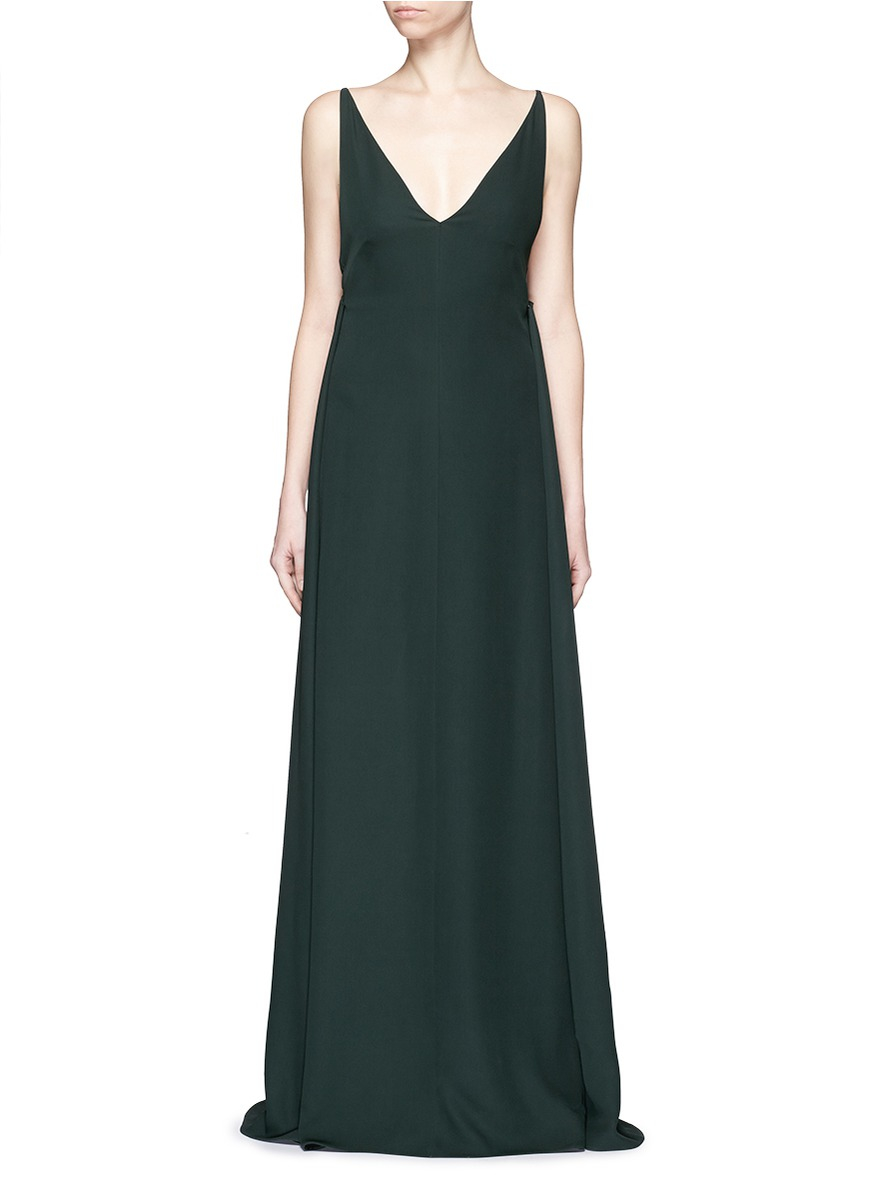 Lyst Valentino Low Back V Neck Silk Cady Crepe Gown In Green